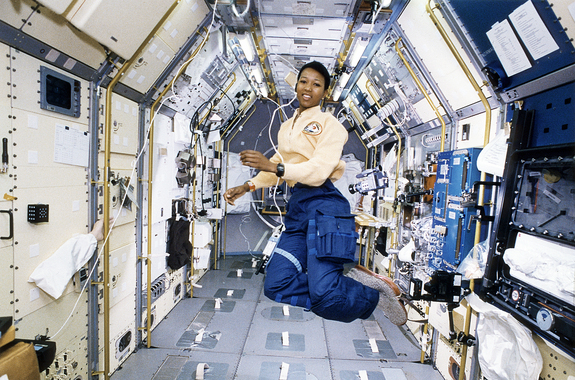 NASA astronaut Mae Jemison flew on space shuttle Endeavour in September 1992, becoming the first black woman to travel to space.