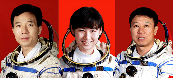 China's astronauts Jing Haipeng (L), Liu Wang (R) and Liu Yang, China's first female astronaut, make up the crew of the Shenzhou-9 manned docking mission.