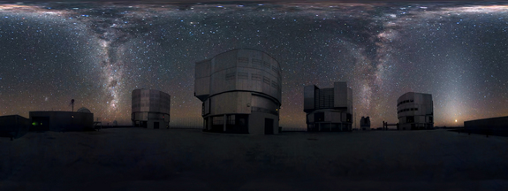 This amazing image seems to show the Milky Way streaming down not once, but twice, at ESO's Very Large Telescope on Chile's Cerro Paranal mountain. Actually, the photo shows a 360-degree panorama of the sky, so the two streams of stars are two halves of the band of the Milky Way arcing across the sky.