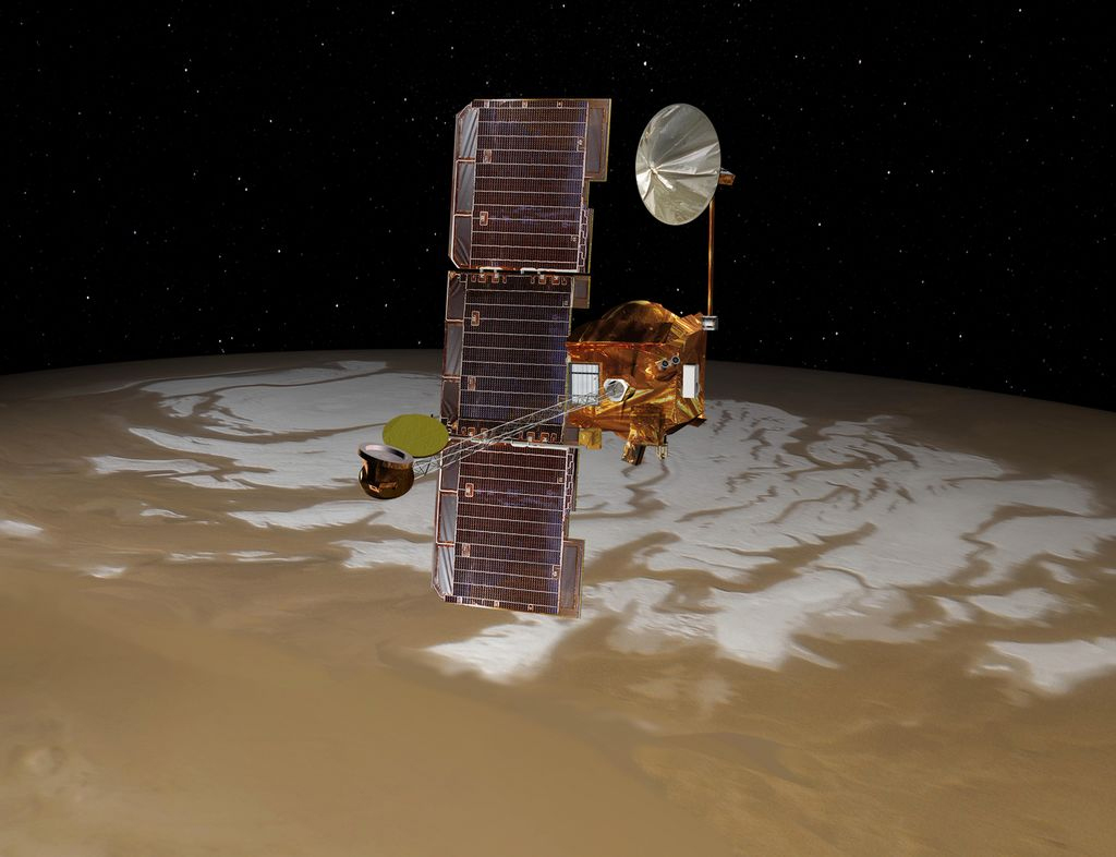 Mars Odyssey over Mars' South Pole