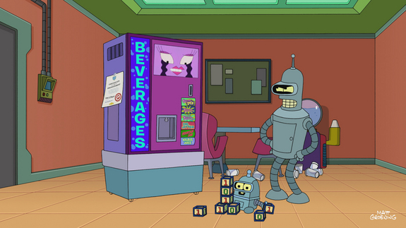 "The foulmouthed robot Bender has a son with the office soda machine in the first episode of the seventh season of ""Futurama."""