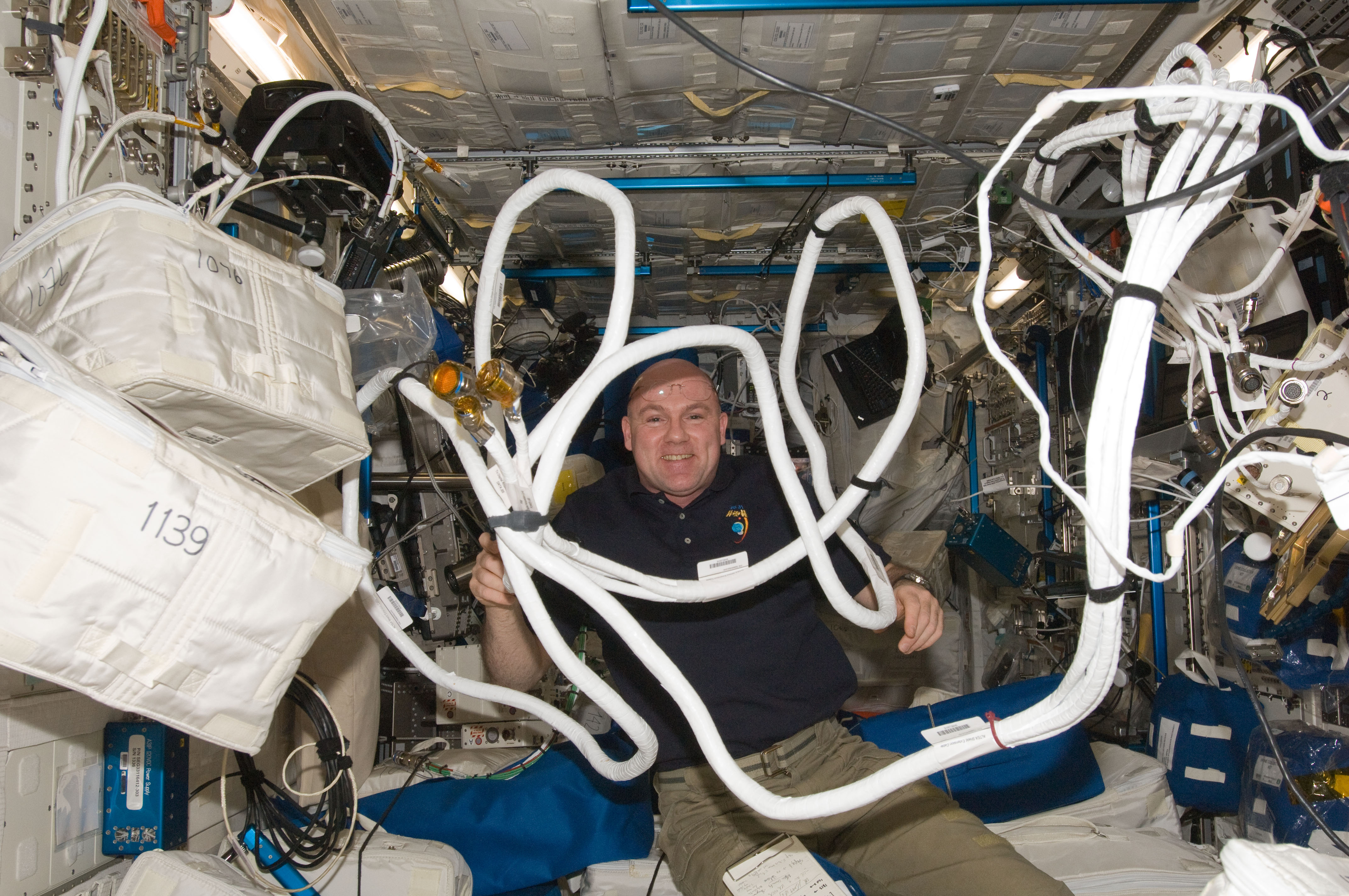 Astronaut Andre Kuipers with Equipment