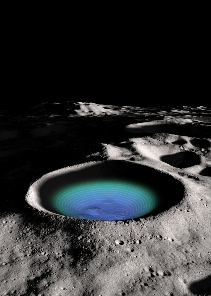 Huge Moon Crater's Water Ice Supply Revealed