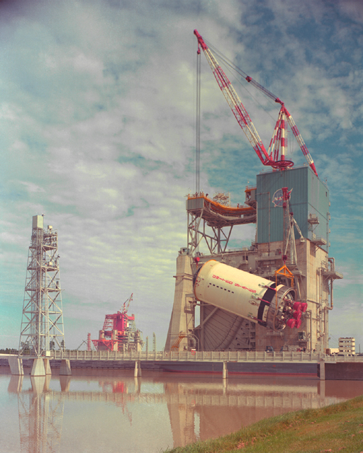 Space History Photo: Saturn V, S-II Stage is Lifted into Test Stand