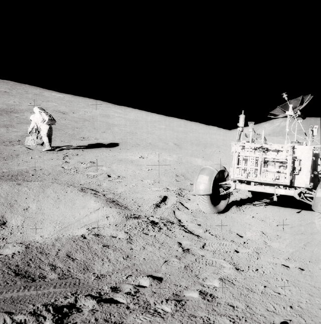 Space History Photo: Scott on Slope of Hadley Delta