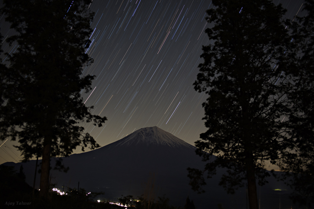 Star Trails Streak Over Mount Fuji in Serene Picture