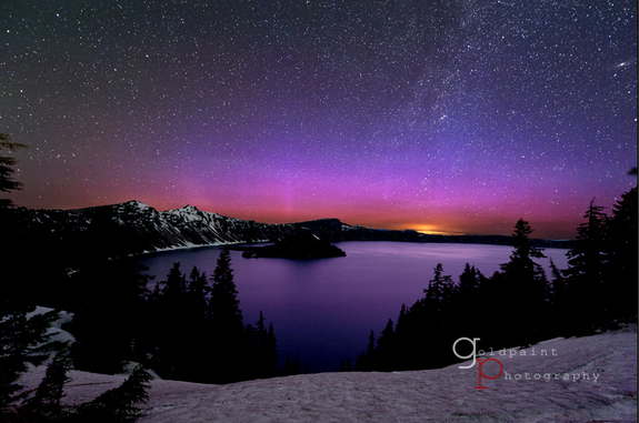 Astrophotographer Brad Goldpaint provides this image of an aurora over Crater Lake, Oregon, taken June 17, 2012.