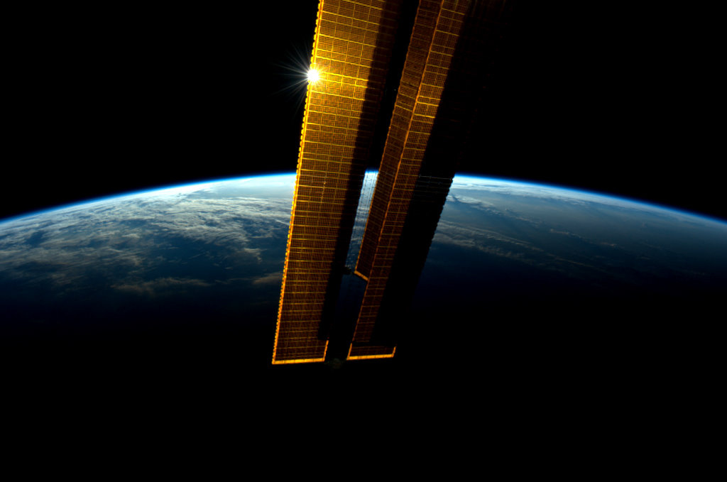 Solar Panels Reflect Light in Space