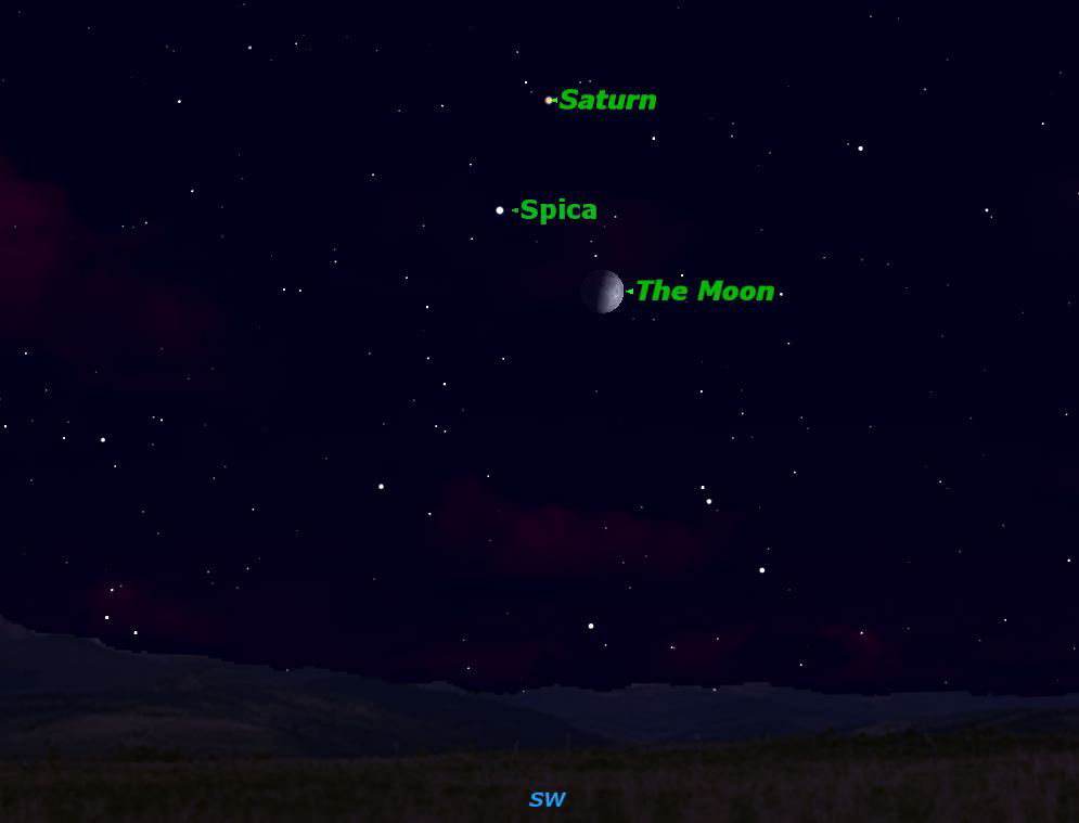 Saturn, Spica and First Quarter Moon Light Up Night Sky