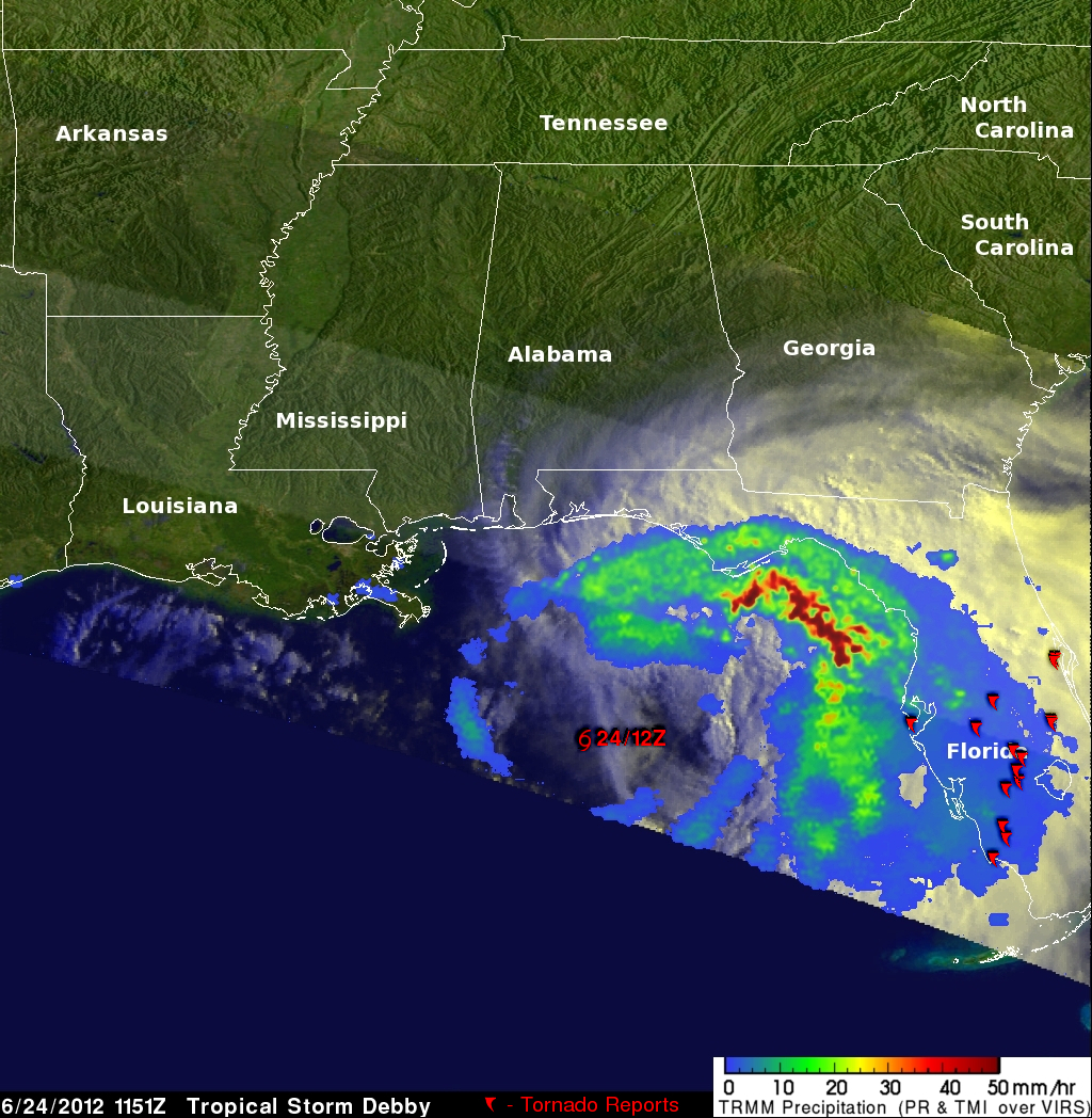 Debby's Torrential Rains Measured From Space