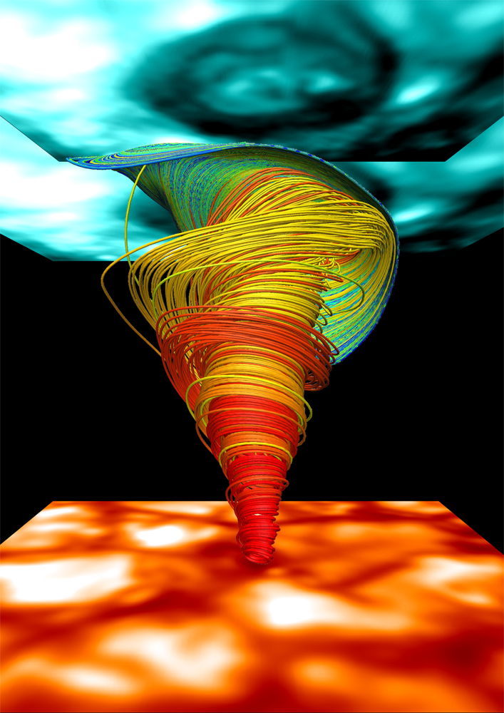 3D Numerical Simulations of a Magnetic Tornado