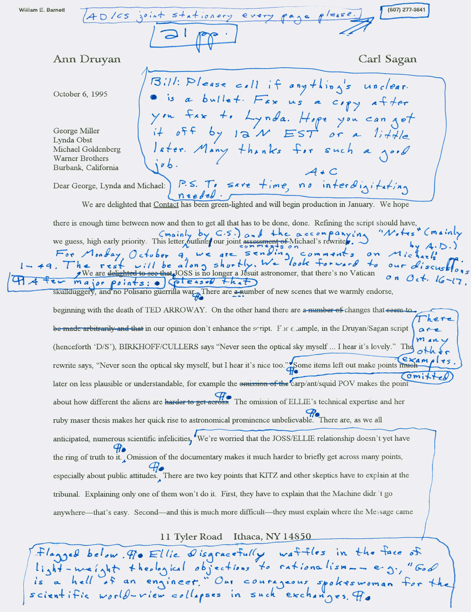 Carl Sagan Letter about the Film 'Contact'