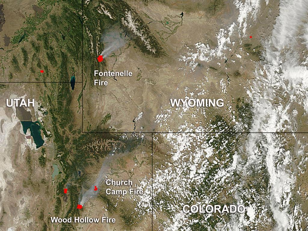 Wildfires in Utah and Wyoming