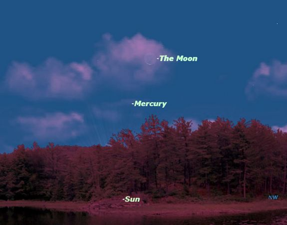 A close encounter between Mercury and the Moon on July 20, 2012, is shown here.