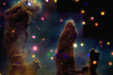 Chandra's X-ray Observatory reveals x-ray images in the Eagle Nebula, although few are visible within the Pillars of Creation