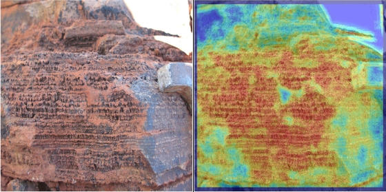 A photo of a stromatolite (left) from Western Australia analyzed by  TextureCam (right). The program assigns a color to each patch in the image according to how it matches the criteria for stromatolite rocks (red means good match, or high probability).