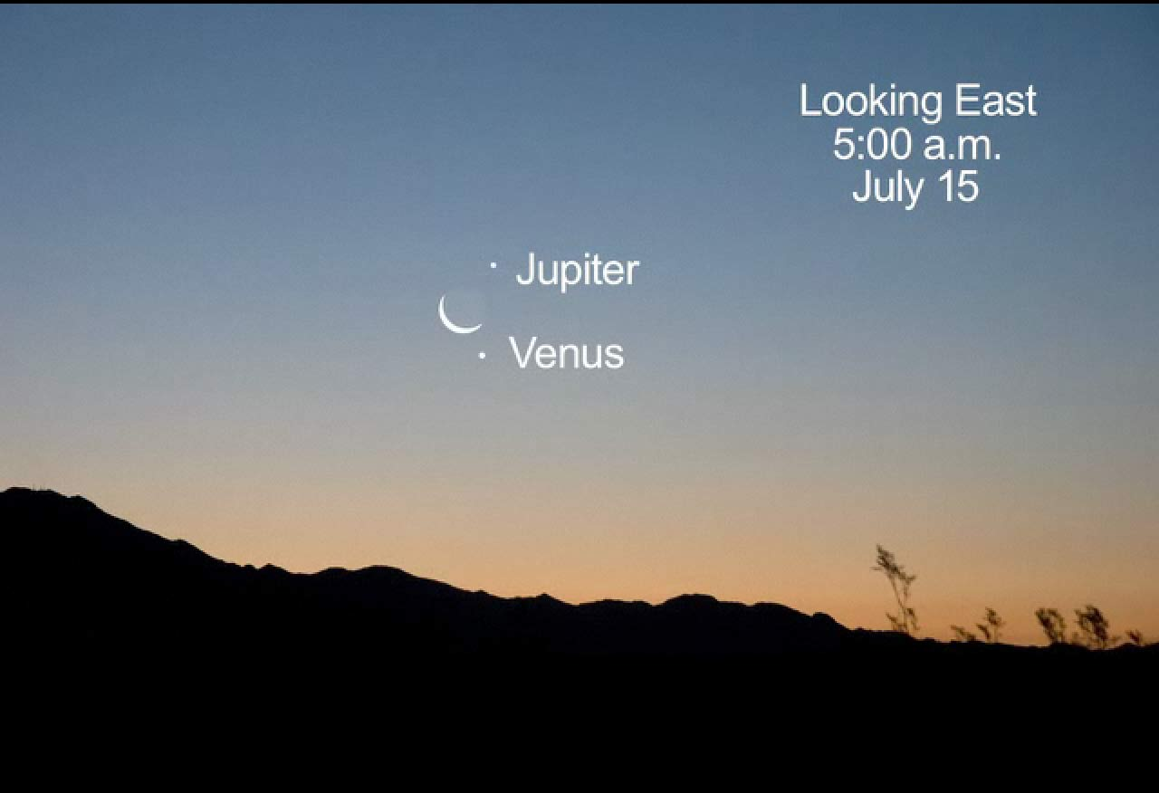 Crescent Moon Joins Venus & Jupiter in Pre-Dawn Sky Sunday