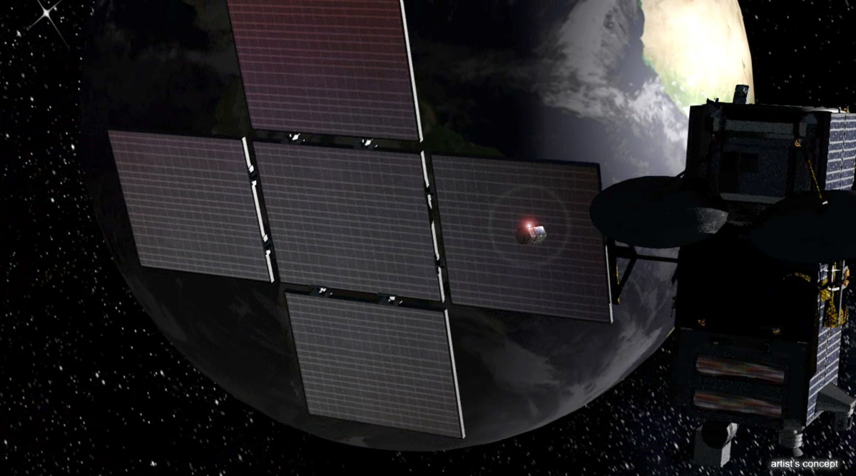 DARPA's Proposed Phoenix Program Spacecraft Works on a Satellite
