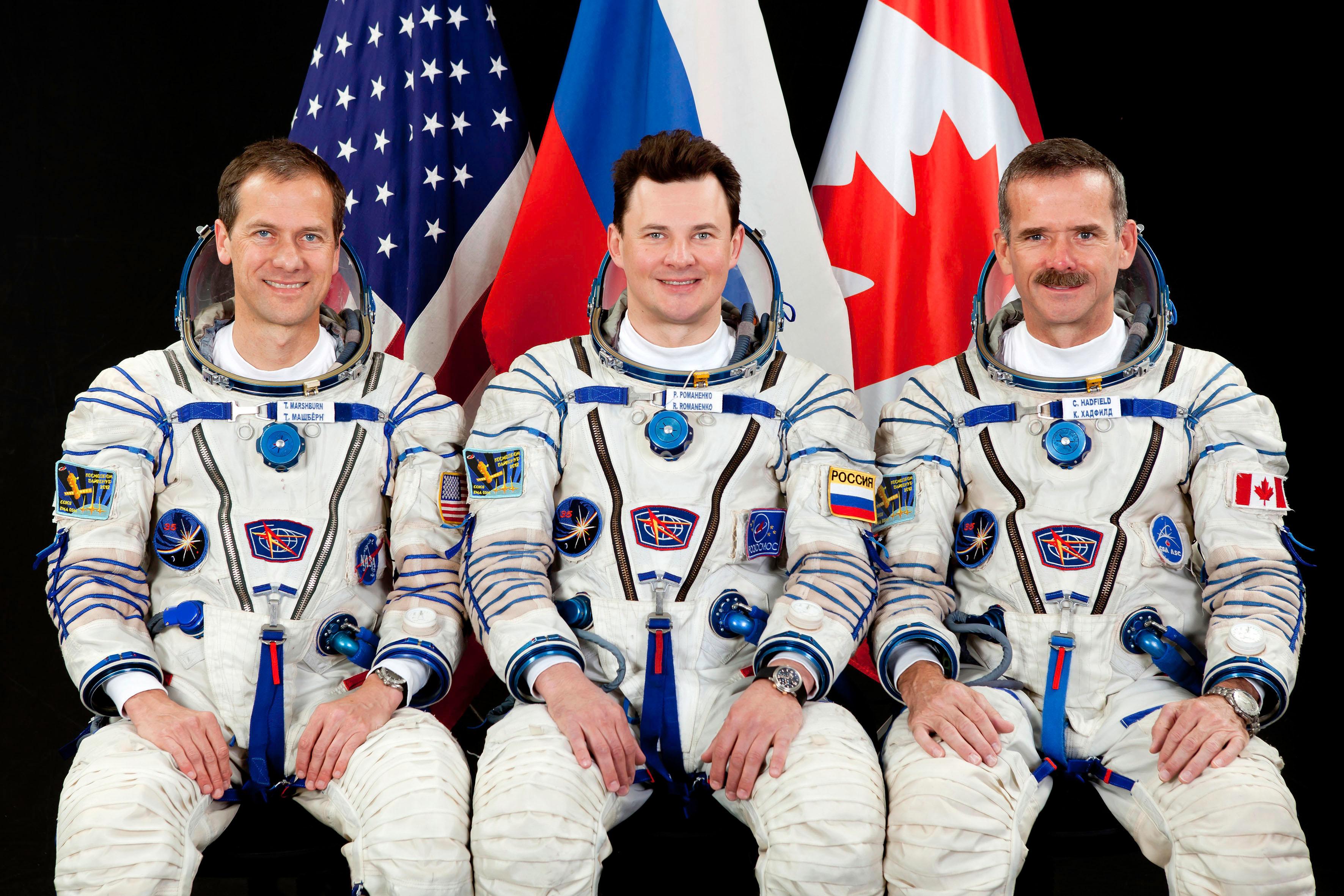 Crew Members Marshburn, Romanenko, Hadfield
