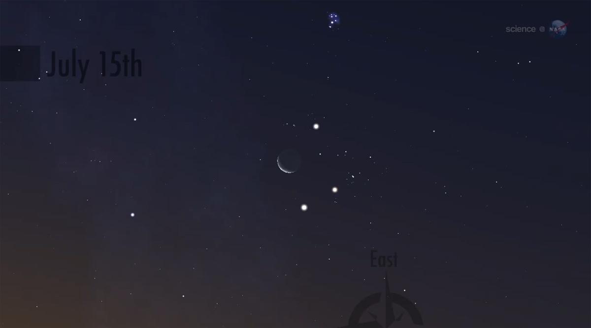 Jupiter, Venus, Aldebaran and the Moon, July 15, 2012