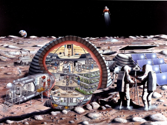 Pit stop, the moon! Lunar extraction of minerals and ice are envisioned as near-term objectives for space mining advocates.