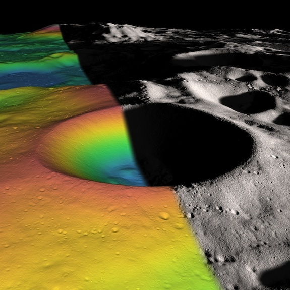 Lunar ice maker, just right for mining. Elevation (left) and shaded relief (right) image of Shackleton, a 21-km-diameter (12.5-mile-diameter) permanently shadowed crater adjacent to the lunar south pole. NASA's Lunar Reconnaissance Orbiter spacecraft has returned data that indicate ice may make up as much as 22 percent of the surface material in the crater.