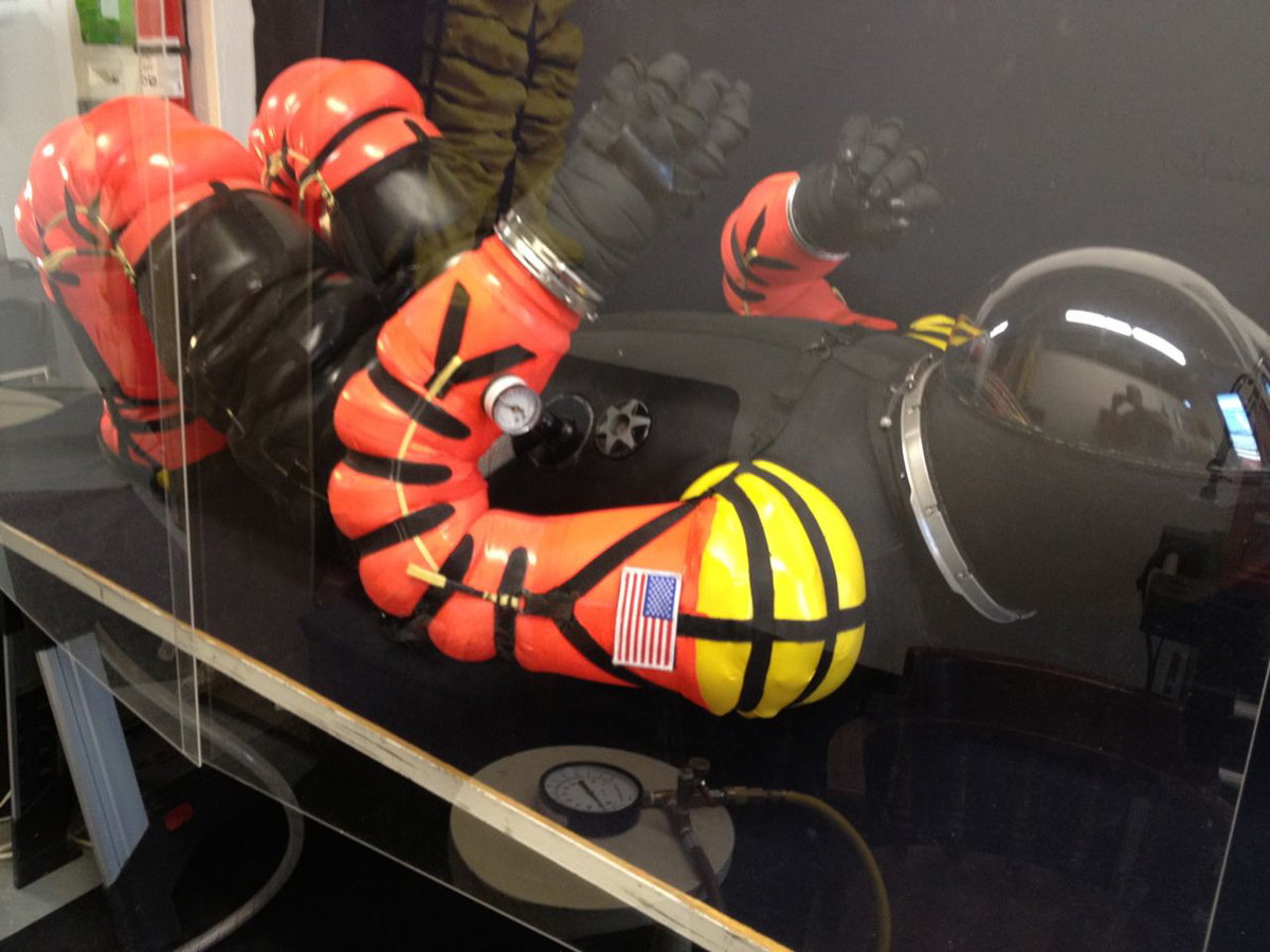 Final Frontier Design Spacesuit in Recumbent Position