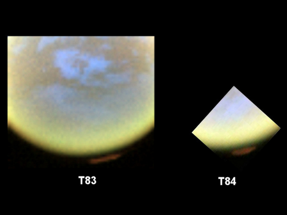 False-color images from NASA's Cassini spacecraft show the development of a hood of high-altitude haze ­- which appears orange in this image -- forming over the south pole of Saturn's moon Titan.
