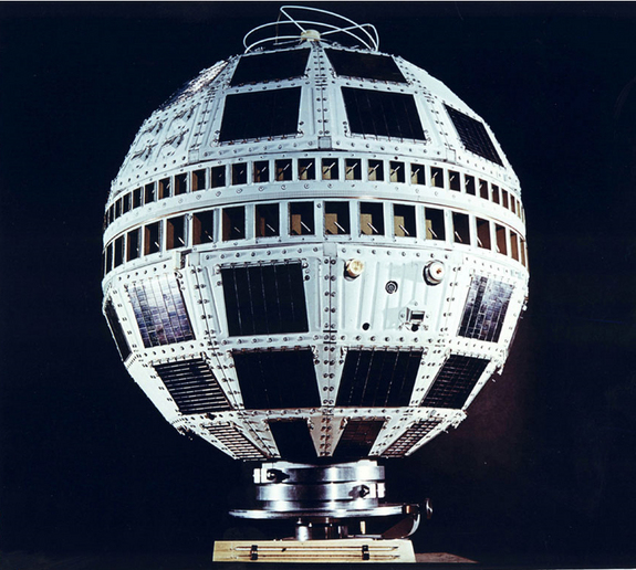 Image of the Telstar 1 satellite. Telstar was launched by NASA on July 10, 1962, from Cape Canaveral, Fla., and was the first privately sponsored space-faring mission. Two days later, it relayed the world's first transatlantic television signal, from Andover Earth Station, Maine, to the Pleumeur-Bodou Telecom Center, Brittany, France.
