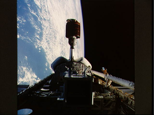 Telstar 3-D Communications Satellite Deploying from Discovery's Payload Bay