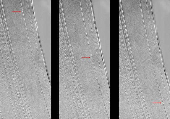 Three Cassini images show a propeller-shaped structure created by an unseen moon in Saturn's A ring. Saturn's rings are visible for the first time in two years, as Cassini spacecraft moved out of Saturn's equatorial plane in the spring of 2012.