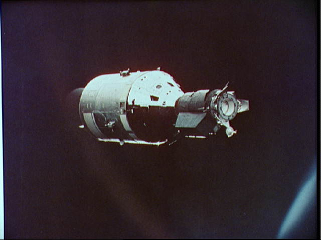 Apollo Spacecraft as Seen from Soyuz Spacecraft