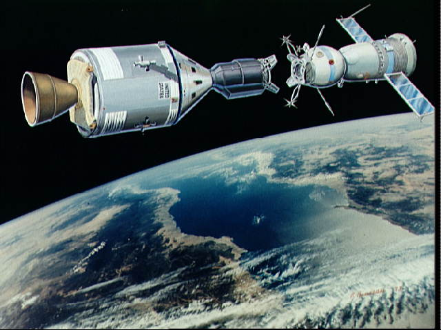 An artist's concept illustrating an Apollo-type spacecraft (on left) about to dock with a Soviet Soyuz-type spacecraft.