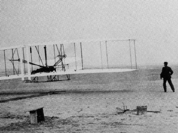 The first flight by the Wright Brothers.