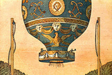 The first free ascent of a hot-air balloon with human passengers, on Nov. 21, 1783. — Jean-François Pilâtre de Rozier and the Marquis d´Arlandes