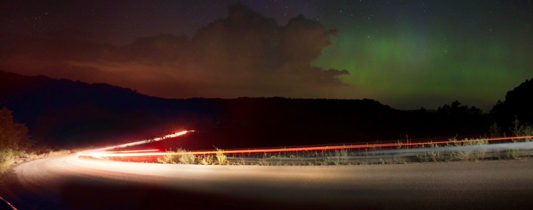 Aurora and Car Headlights at La Valle, WI