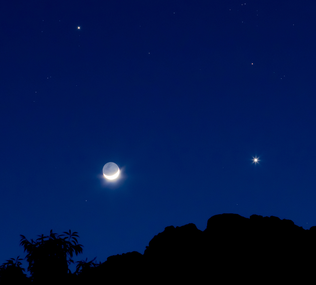 Jupiter, Venus and the Moon over Peru