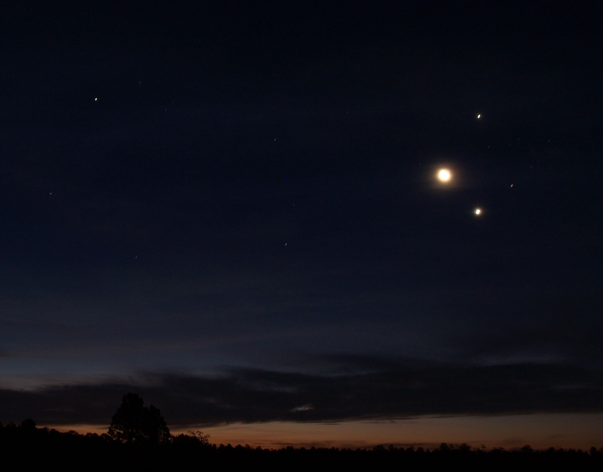 Jupiter, Venus and the Moon over New Mexico