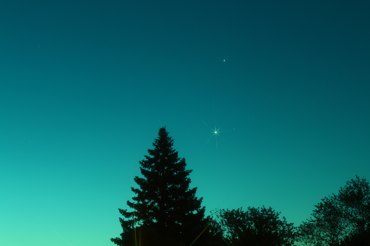 Jupiter, Venus and Aldebaran over Michigan