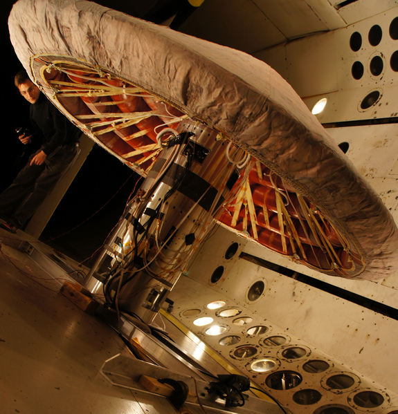 The IRVE-3 went through a complete inflation system test under vacuum conditions in the Transonic Dynamics Tunnel at NASA's Langley Research Center in Hampton, Va. The Inflatable Re-entry Vehicle Experiment III launches on July 21, 2012.
