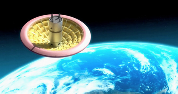 Inflatable Heat Shield Above Earth