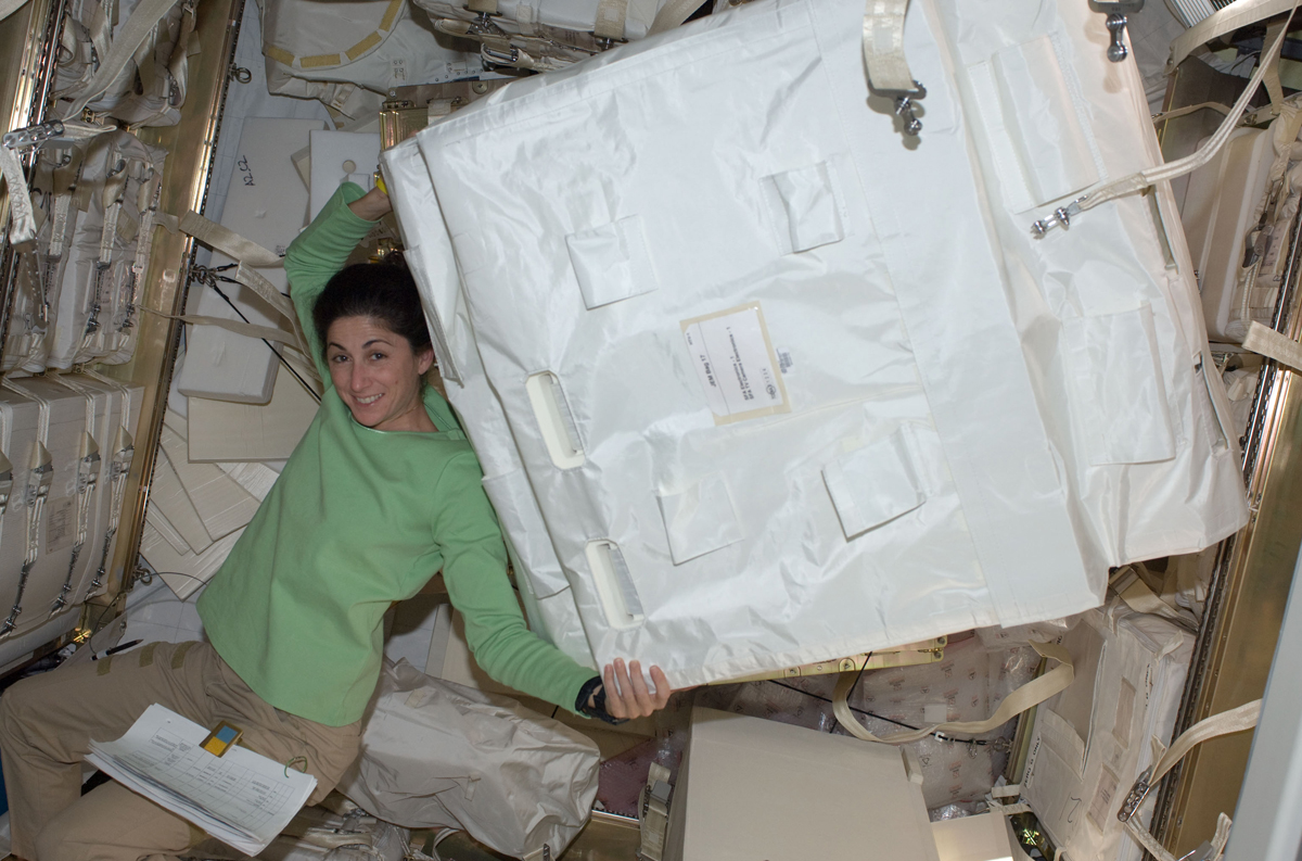 Astronaut Stott Inside H-II Transfer Vehicle