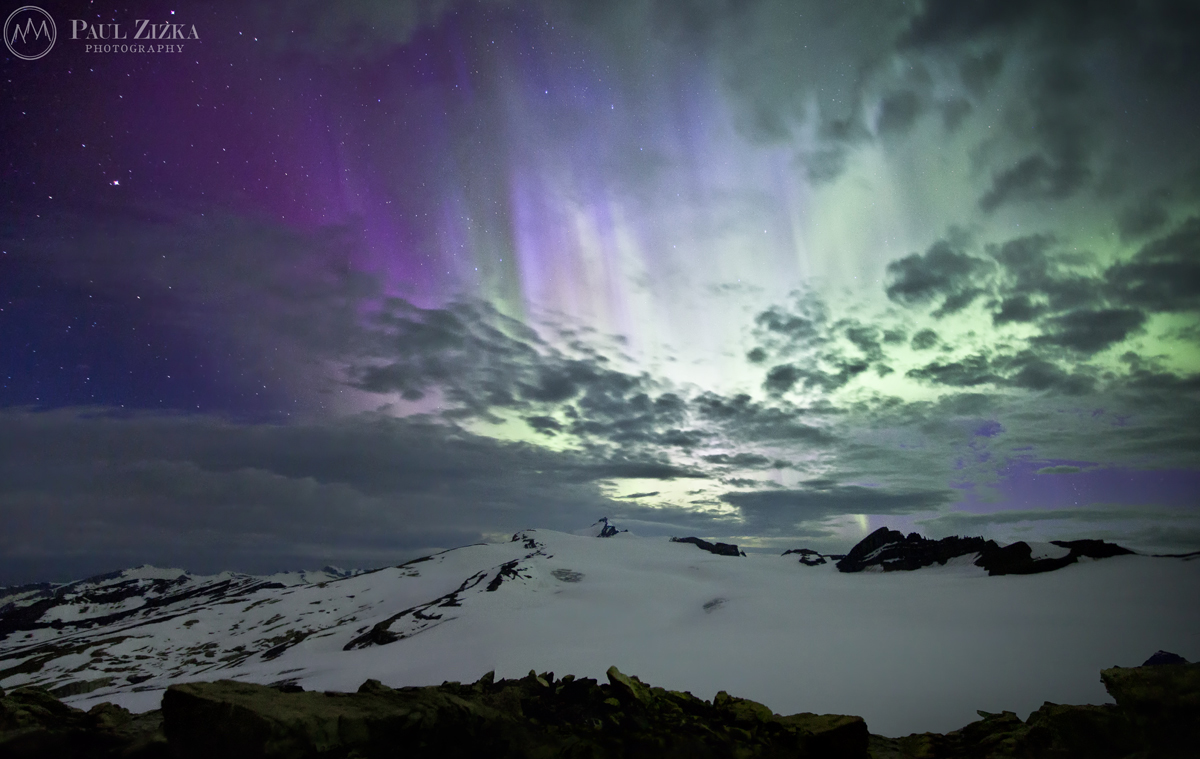 Aurora over the Waputik Icefield, Canada