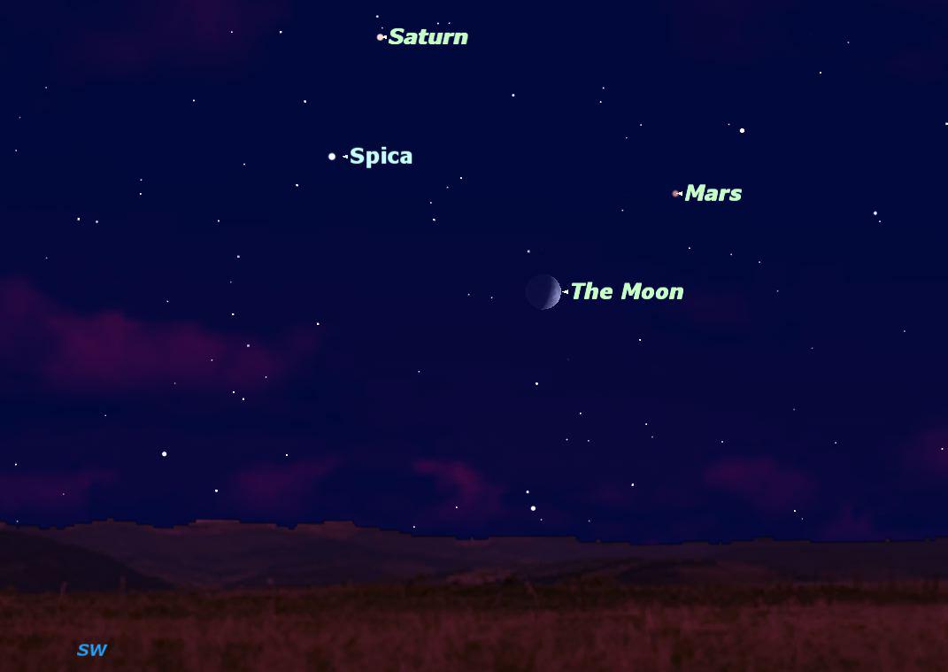 Mars, Saturn, Moon & Star Offer Quadruple Night Sky Show
