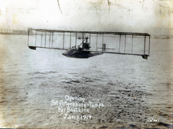 The first flight of a commercial airline was in a Benoist airboat piloted by Tony Jannus.