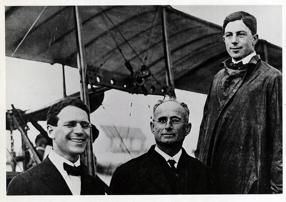 Percival Elliott Fansler, Abram C. Pheil, and Tony Jannus pose before the inaugural flight of the St. Petersburg-Tampa Airboat Line — the world's first airline.