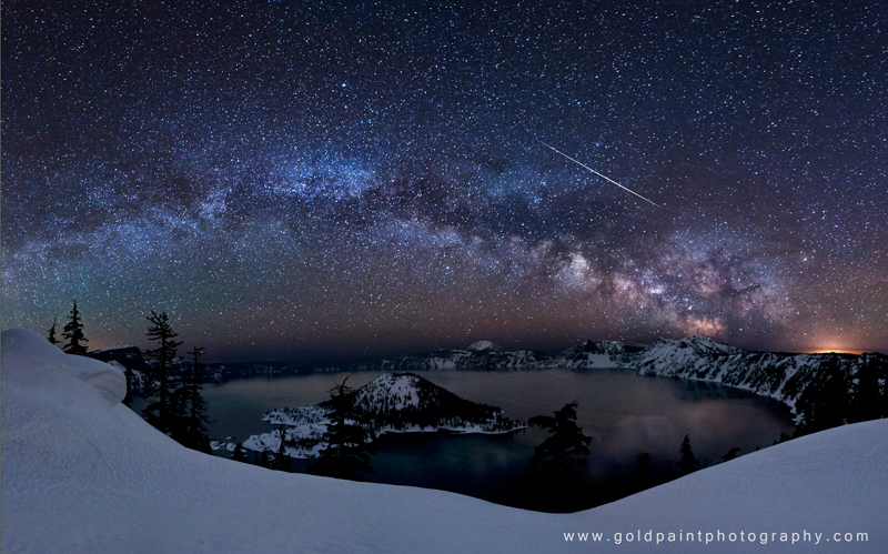 Milky Way and Lyrid Meteor over Crater Lake