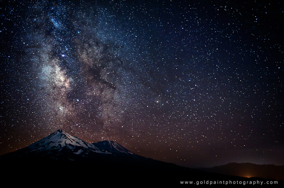 "Veteran night sky photographer Brad Goldpaint took this amazing photo of the Milky Way over Mount Shasta, California, during three years of astronomical photo sessions. The image is featured in Goldpaint's night sky observing video ""Within Two Worlds."""