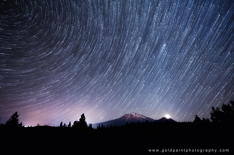 Star Trails over Mount Shasta