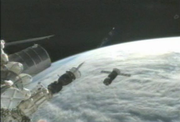 An unmanned Russian Progress 47 cargo ship is being used to test an upgraded automated docking system for the International Space Station.